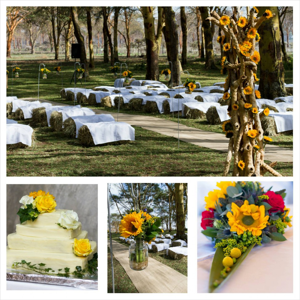 Maua Moments made sunny and bright arrangements for this weekend's wedding, at Sanctuary farm in Naivasha